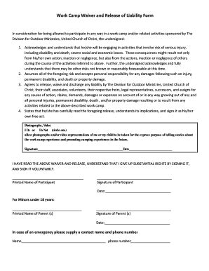 Church Activity Waiver Form Templates Fillable Printable Sles For Pdf Word Pdffiller Activity Waiver And Release Form Template