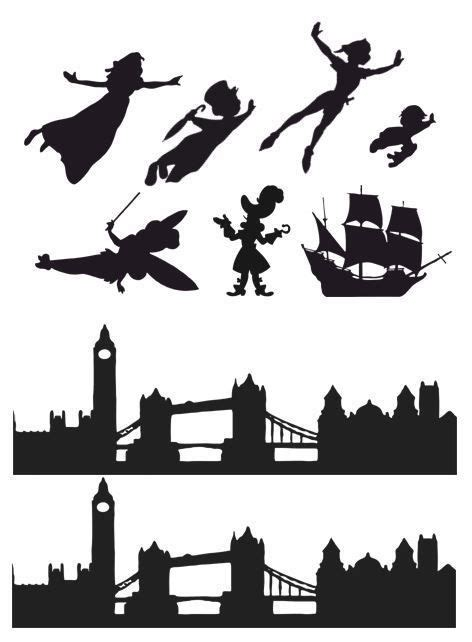 Peter Pan Wendy London Skyline Silhouette Edible Icing Decor For Themed Cake ピーターパン ディズニー Pan Silhouette Template