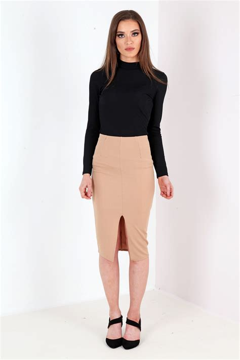 Slit Front Linen Blend Midi Skirt pencil skirt split dress ala