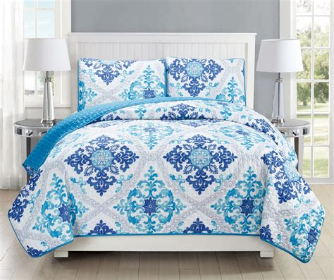 Navy And White Quilt Bedding Scroll Navy White Reversible Bedspread Quilt Set Ebay