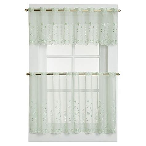 sage sheer curtains buy samantha sheer window curtain valance in sage from bed