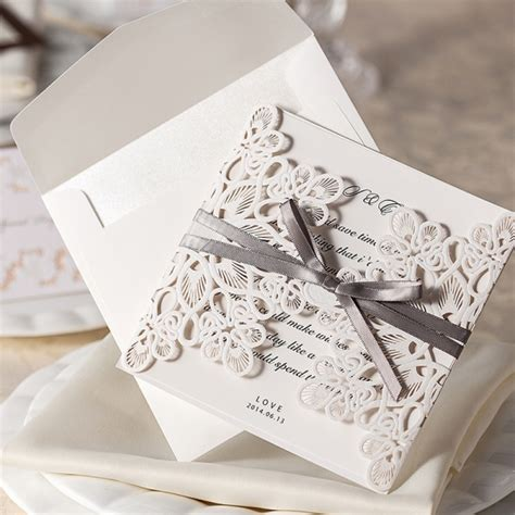 wedding invitations set out ivory laser cut cheap wedding invitation with ribbon