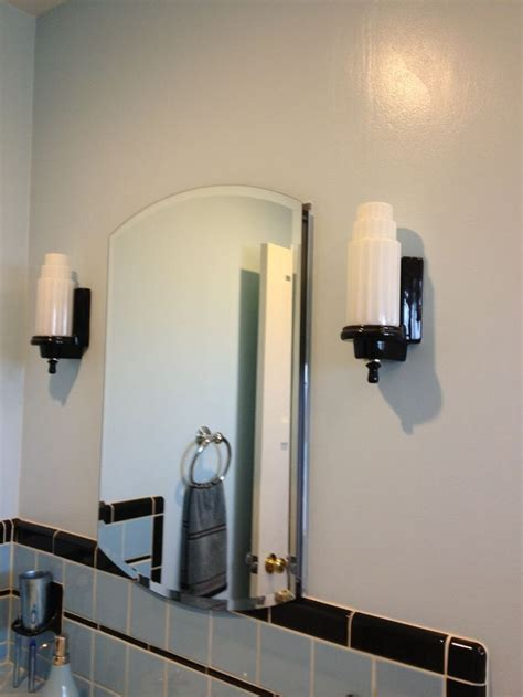 Bathroom Mirror Styles 1940s Style Medicine Cabinet With Beveled Mirror Blue Tile Bathroom And Porcelain Sconces