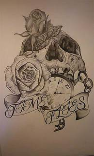 tattoo design pencil drawing time flies by