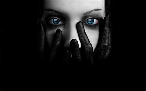 wallpaper dark face wallpaper black face eyes blue eyed girl covers her