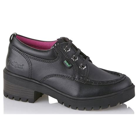 kickers kickmando lo youth black school shoe with slight
