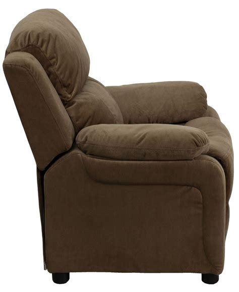 recliner with arm storage deluxe heavily padded brown microfiber kids storage arm