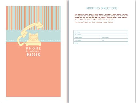 telephone address book template address book template word