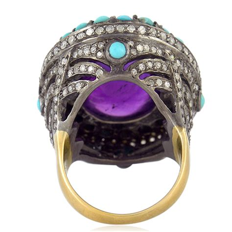amethyst turquoise gold sterling silver cocktail