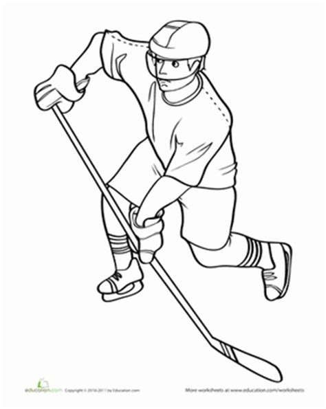 simple hockey coloring pages hockey player worksheet education com