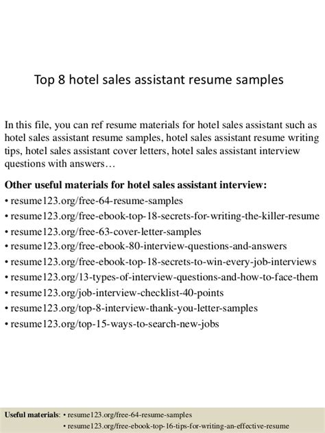Hotel Sales Assistant Sle Resume by Top 8 Hotel Sales Assistant Resume Sles