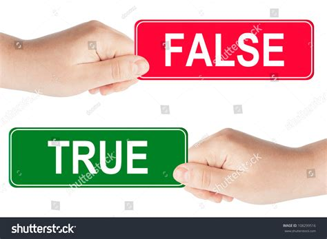 Yrue Search True And False Traffic Sign In The On The White