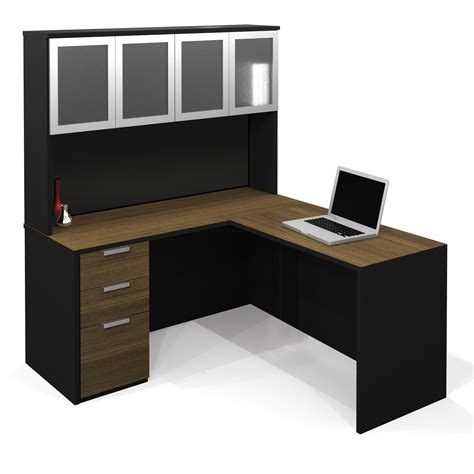 cool desk l cool l shaped desk with hutch bitdigest design l