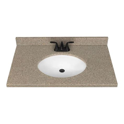 Solid Surface Vanity Tops For Bathrooms Shop Nutmeg Solid Surface Integral Bathroom Vanity Top Common 37 In X 22 In Actual 37 In X