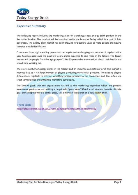 energy drink target market market plan for tata beverages tetley energy drink