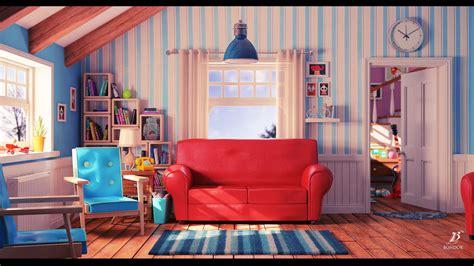 living picture artstation cartoon living room bondok max