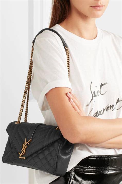 saint laurent monogram quilted black leather shoulder