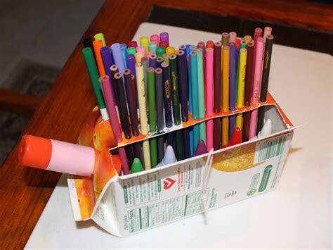 How To Make Desk Organizers by How To Make A Recycled Children S Juice Desk