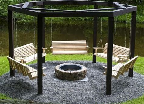 benches around fire pit swinging benches around a fire pit amazing diy interior