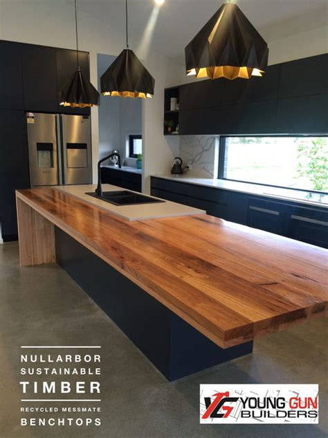 Black Butcher Block Kitchen Island by Timber Benchtops Recycled Laminated Timber Bench Tops