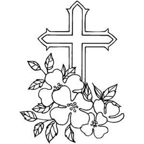 coloring pages of roses and crosses cross and flowers coloring page