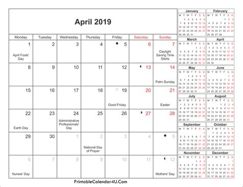 2019 Calendar With Holidays And Observances April 2019 Calendar Printable With Holidays Pdf And Jpg