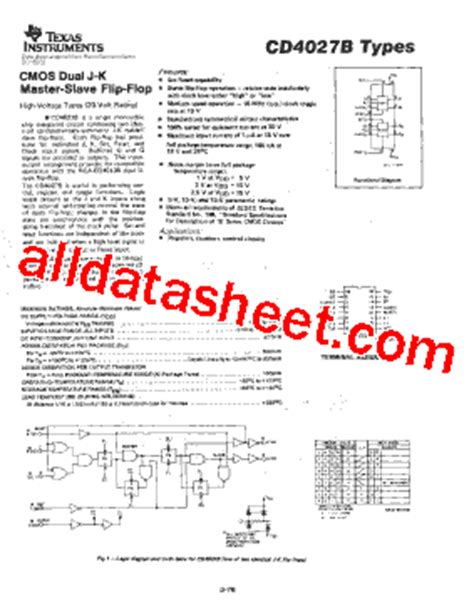 datasheet transistor on5252 pdf cd4027 datasheet pdf instruments