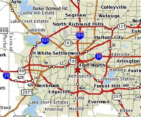 map of fort worth texas and surrounding areas fort worth texas map