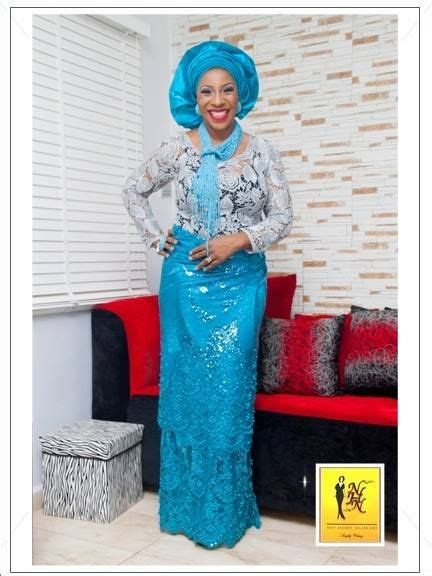 nhn couture cord lace blue aso ebi style by nhn couture makeup and gele by