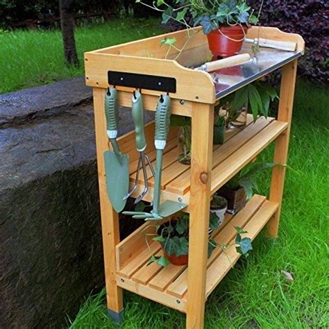Potting Bench With Sink Wood Garden Potting Bench Table Shelf Planting Flower Seed
