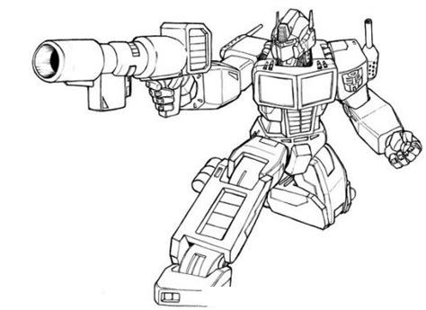 imagenes para colorear optimus prime dibujo de optimus prime de los transformers disparando