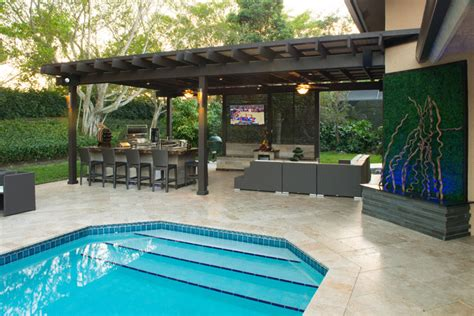 Outdoor Kitchen And Pergola Project In South Florida Pool Pergola Designs