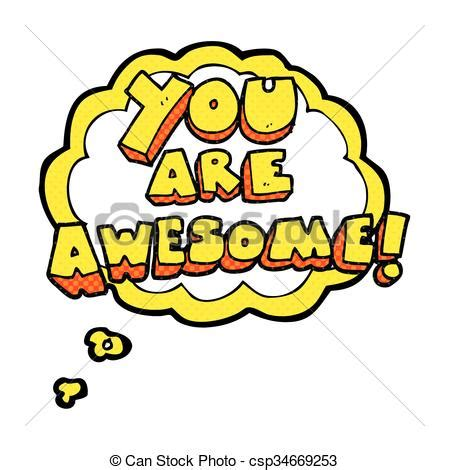 you are awesome clipart freehand thought you are awesome text