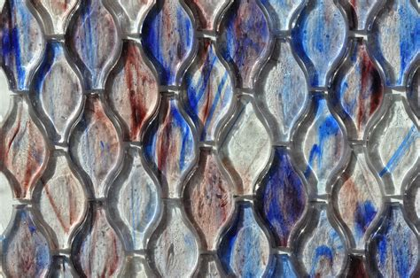 fusion brown pattern glass mosaic fusion glass blue lavender and white teardrop pattern 08g