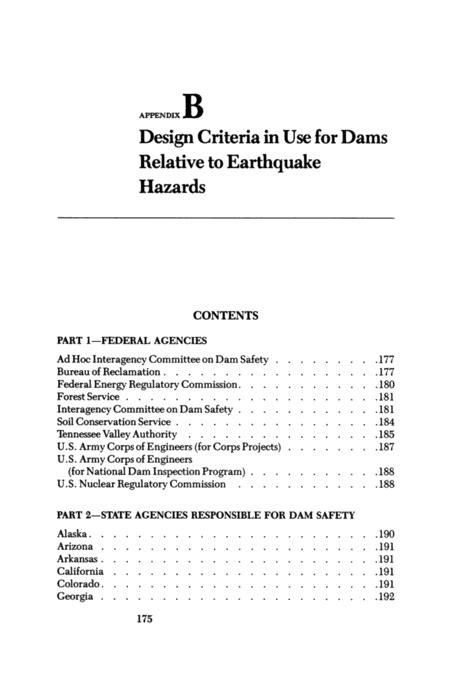 Design Criteria Purpose | appendix b design criteria in use for dams relative to