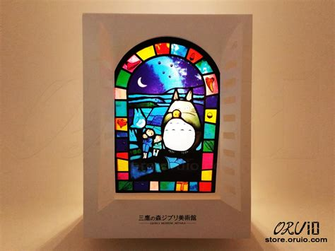 stained glass post light totoro moon light stained glass style post card oruio estore