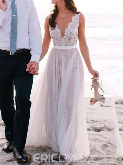 Wedding Dresses For by Ericdress Beautiful Illusion Neckline Lace A Line