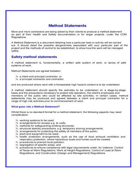 method statement template for construction method statement template free
