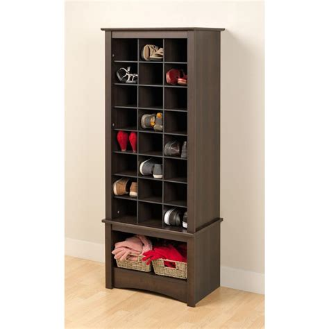 shoe storage cubbie prepac 24 shoe capacity cubbie cabinet tower in
