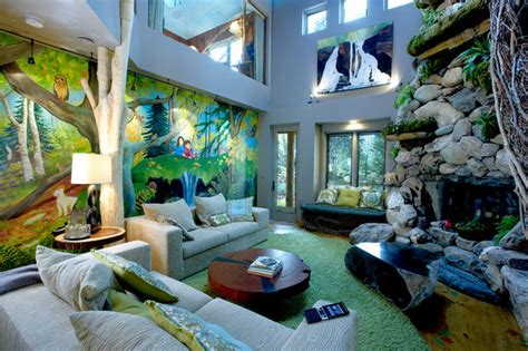 themed living room decorating ideas colorful jungle wall murals in jungle themed living room