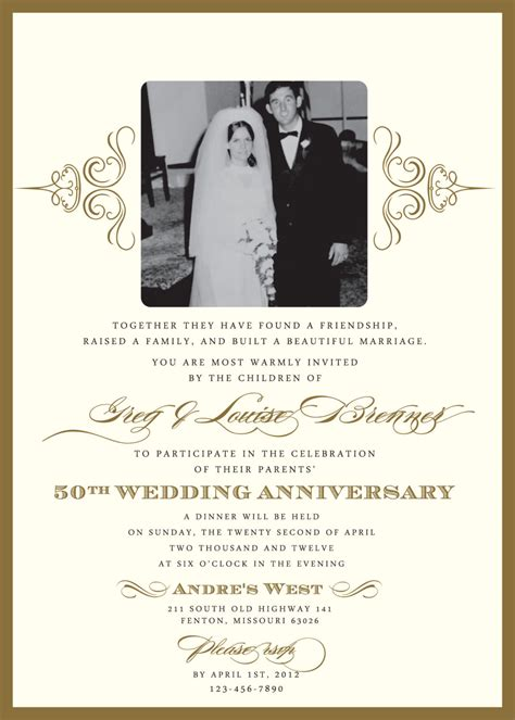 50th anniversary invitations templates golden 50th anniversary invitation