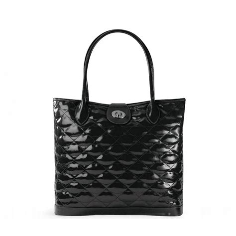 Lulu Guinness Hotel Large Edith by Lyst Lulu Guinness Black Quilted Patent Leather