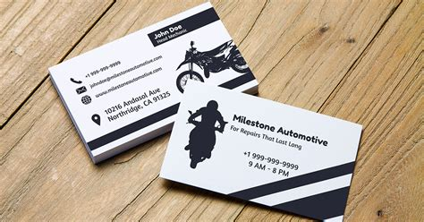 business card motorcycle templates 10 automotive business card templates fully customisable