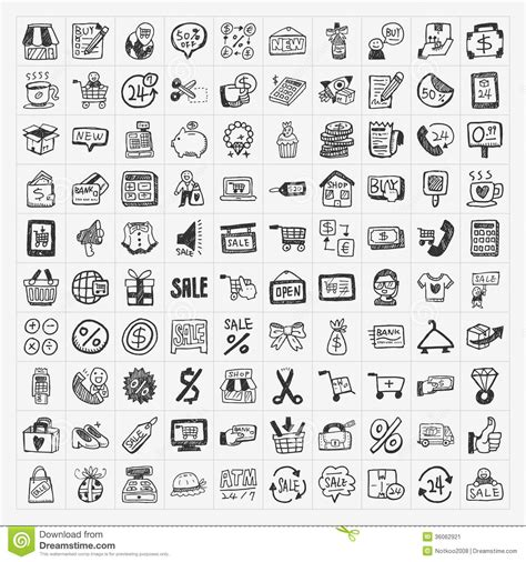 doodle shopping doodle shopping icons set stock vector illustration of
