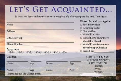 Church Information Card Template by Visitor Card Templates Calvary Publishing