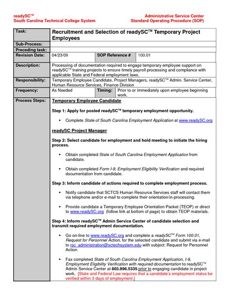 standard of procedure template standard operating procedures template beepmunk