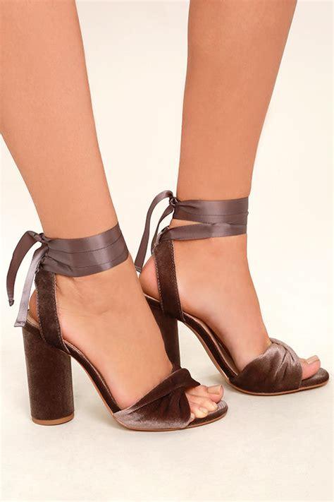 Steve Madden V by Steve Madden Clary V Heels Velvet Heels Lace Up Heels Taupe Heels 99 00