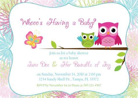 Where Can I Shower For Free by Owl Invitations Template Printable Templates Free