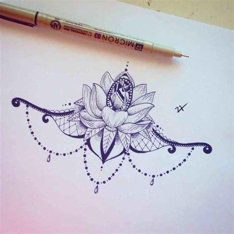 diamond tattoo under chest lotus flower w a diamond and jewels ink inspiration