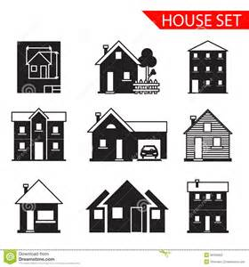 Saltbox Architecture house silhouette icons set isolated vector stock
